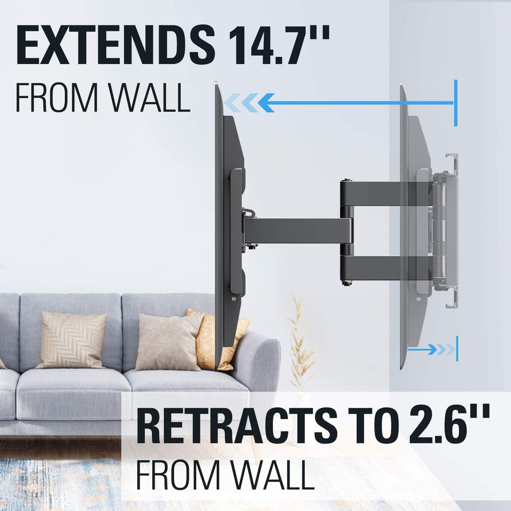 14.7'' extension from the wall to have the greatest swivel and 2.6'' closest to the wall to have a clean look