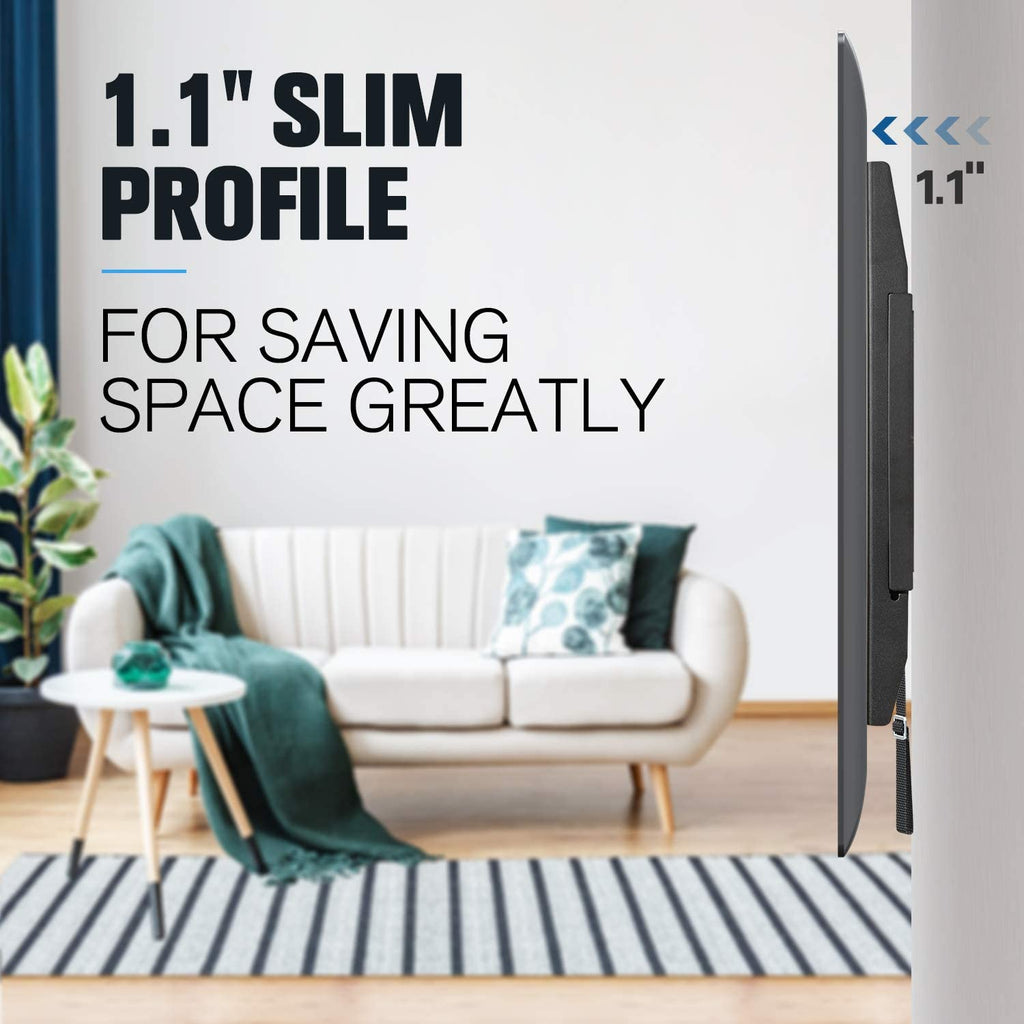 Slim low profile holds your flat-screen tv only 1.1'' from the wall