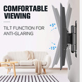 full motion tv wall mount with 5° forward and 15° backward to reduce glare