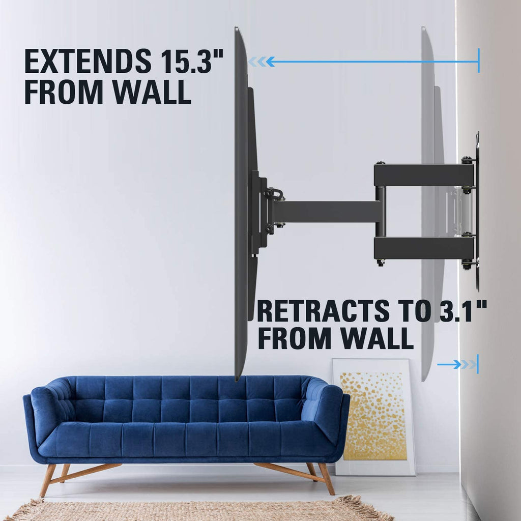 extend the tv 15.3'' from the wall and 3.1'' back to the wall to get the greatest flexibility