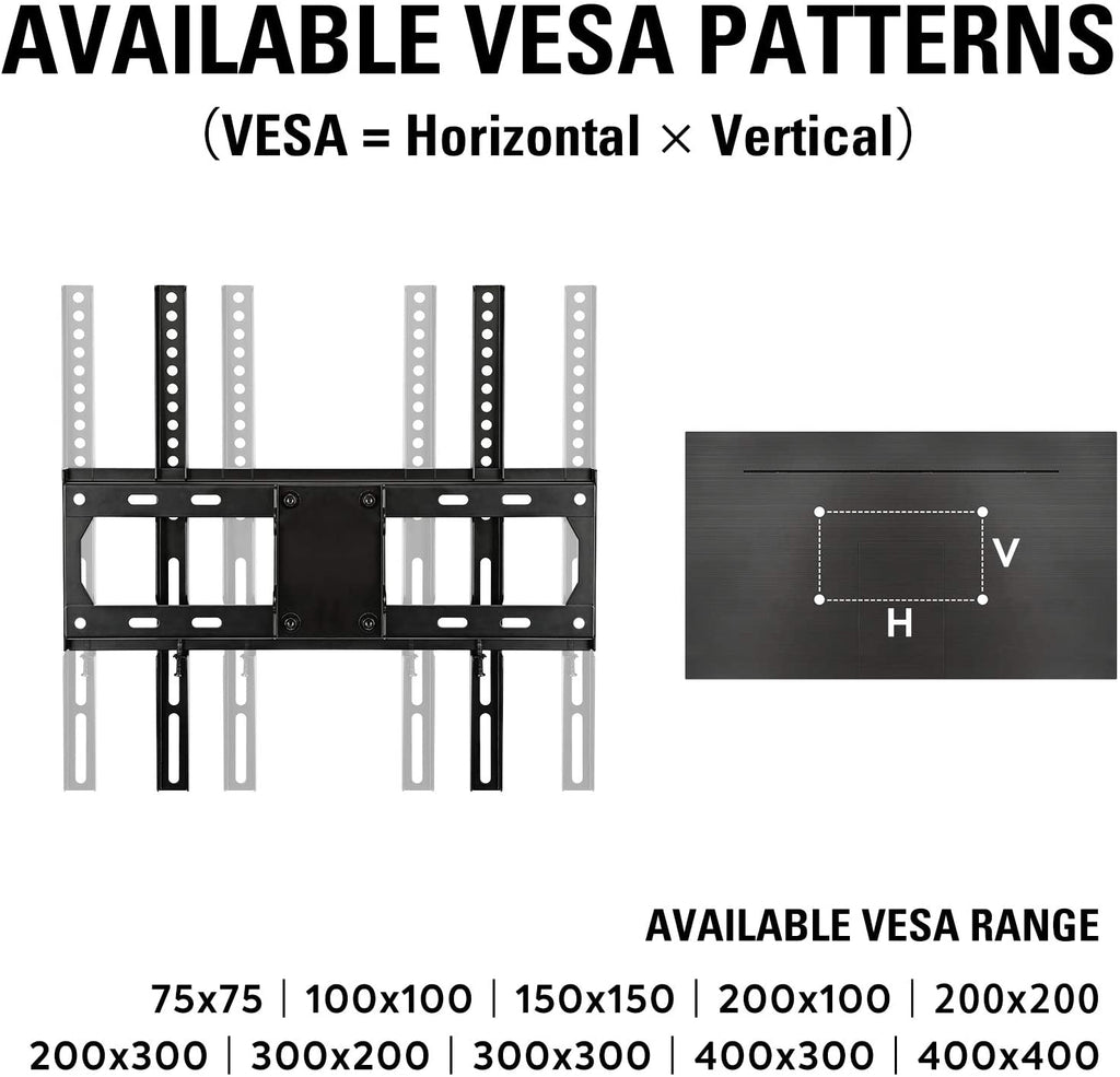 fits with vesa 200 × 200 300 × 300 400 × 400