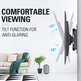 32 inch tv wall mount tilts to reduce glare from different seats in the room