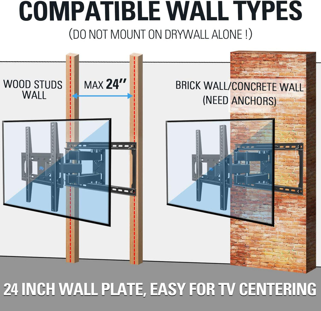 mounting tv on 24'' wood studs or brick/concrete wall