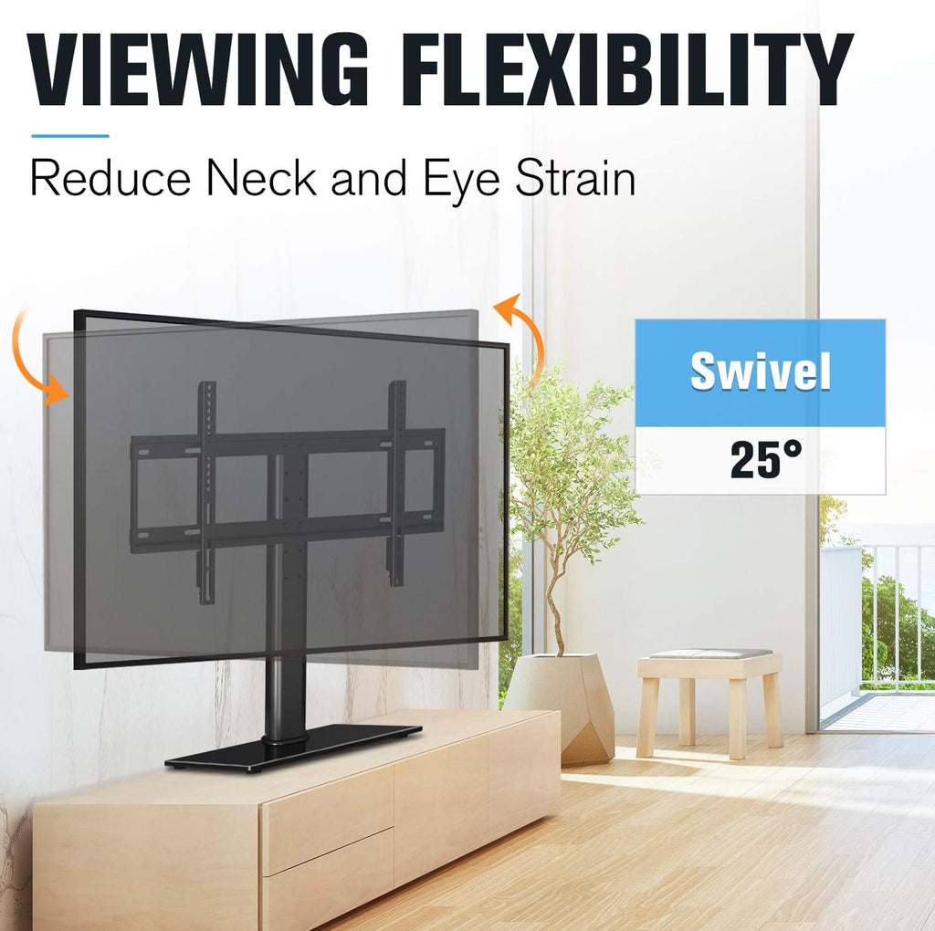 tv stand with 25° swivel for a comfortable view
