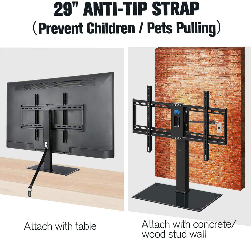 tv stand with anti-tip strap to prevent children pulling