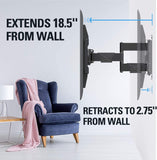 flush and extend tv mount from 2.75'' to 18.5''