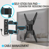 Full motion TV mount with self-stick eva pad and cable management