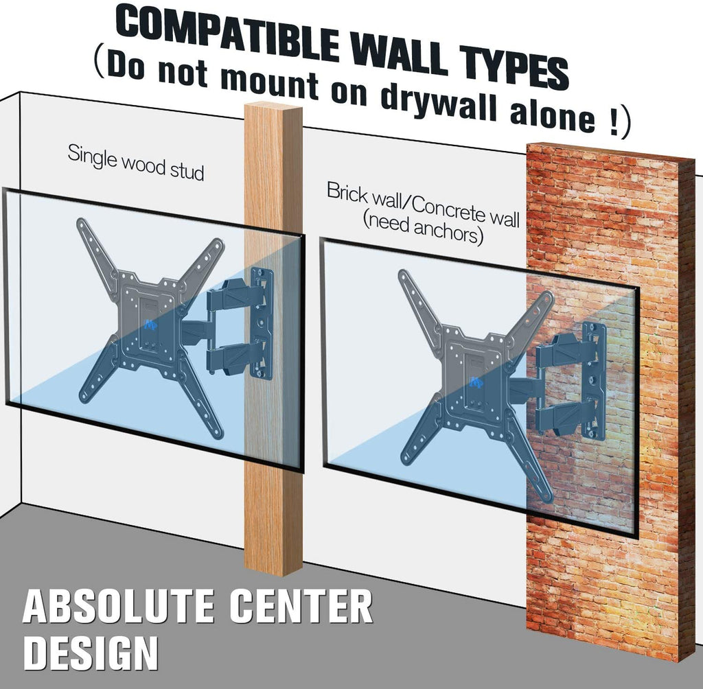 single stud or concrete wall TV wall mount