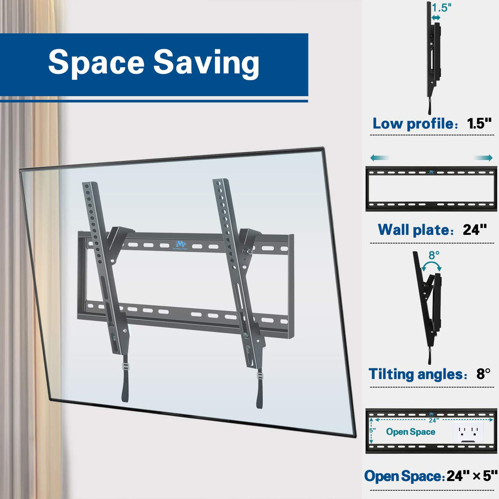 Tilting TV wall mount with 1.5'' low profile and 8 degree tilting angles