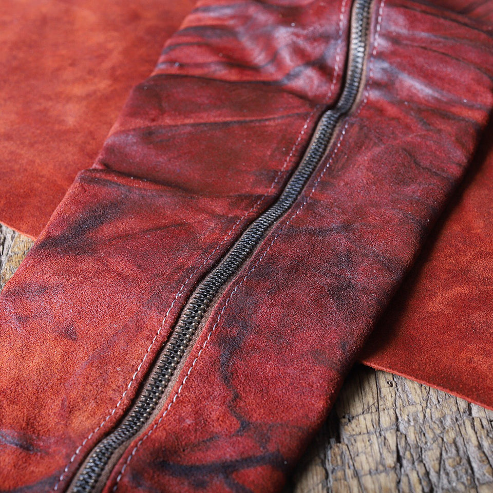 OILED SPLIT SUEDE RED