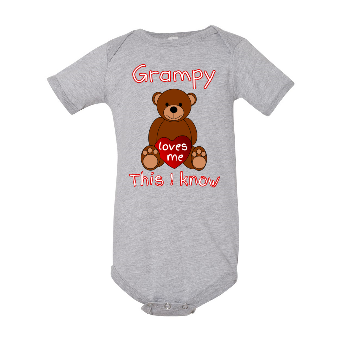 Grampy Loves Me Bear Grandpa Baby Bodysuit