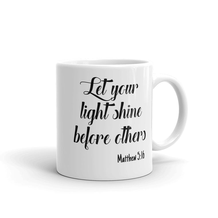 Let Your Light Shine Before Others Bible Verse Praise Inspirational Coffee Mug Christian Faith Scripture Coffee Cup for Religious Gifts