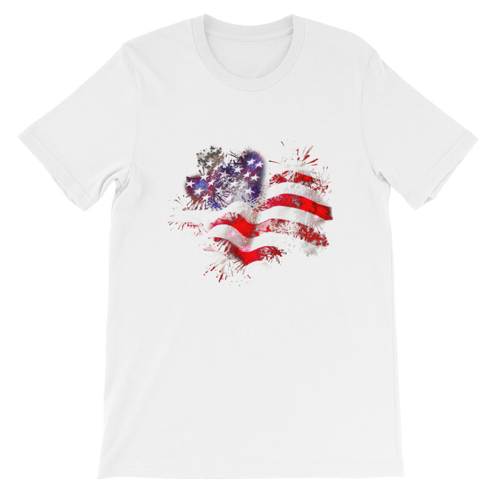 Flag Fireworks Red White Blue Patriotic Shirt - Great 4th of July shirt or USA shirt