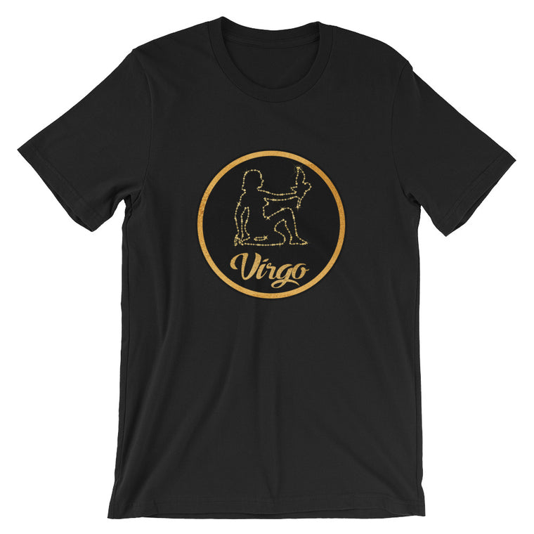 Cute Gold and Black Virgo Virgin Maiden Zodiac Sign Astrology Horoscope Graphic Tee Tshirt