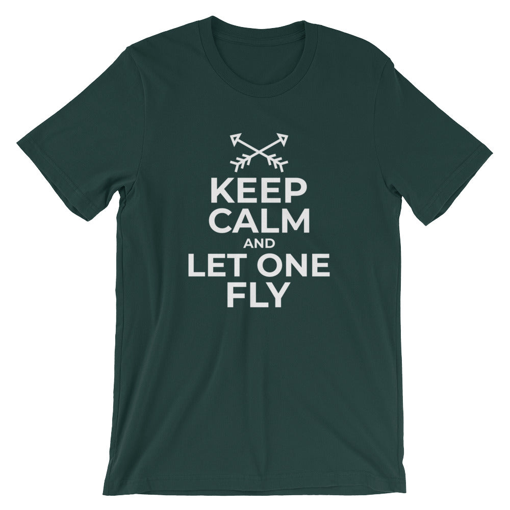 Keep Calm and Let One Fly Archery Tshirt for Bow and Arrow Shooters Funny Archer Target Shooting T Shirts Gifts