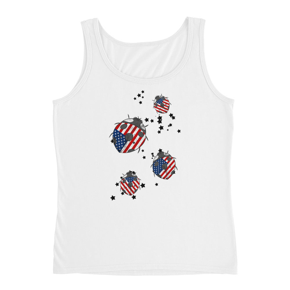 Patriotic Tank Top with Red White Blue Ladybugs - Great for 4th of July tank top or USA tank top