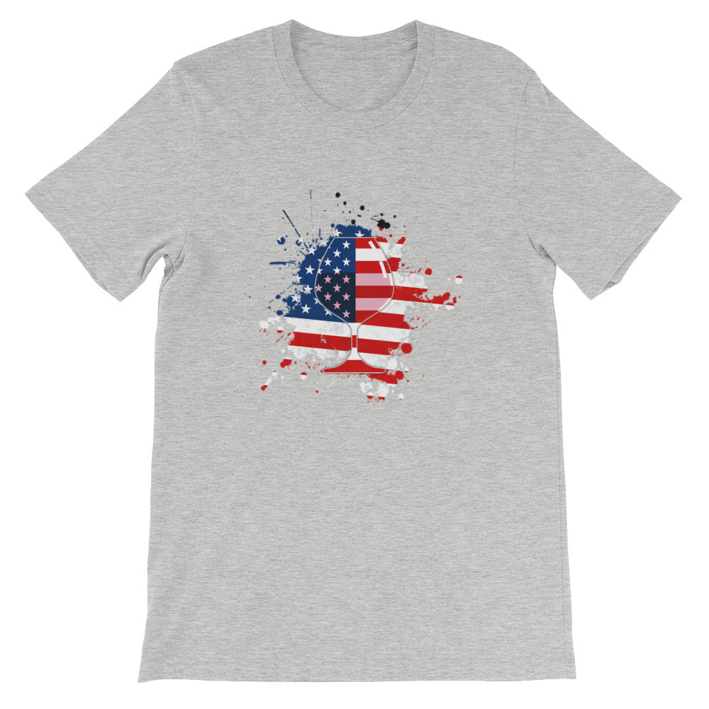 Red White Blue Flag Wine Drinking Patriotic Shirt - Great 4th of July shirt or USA shirt for Wine Drinker Gifts