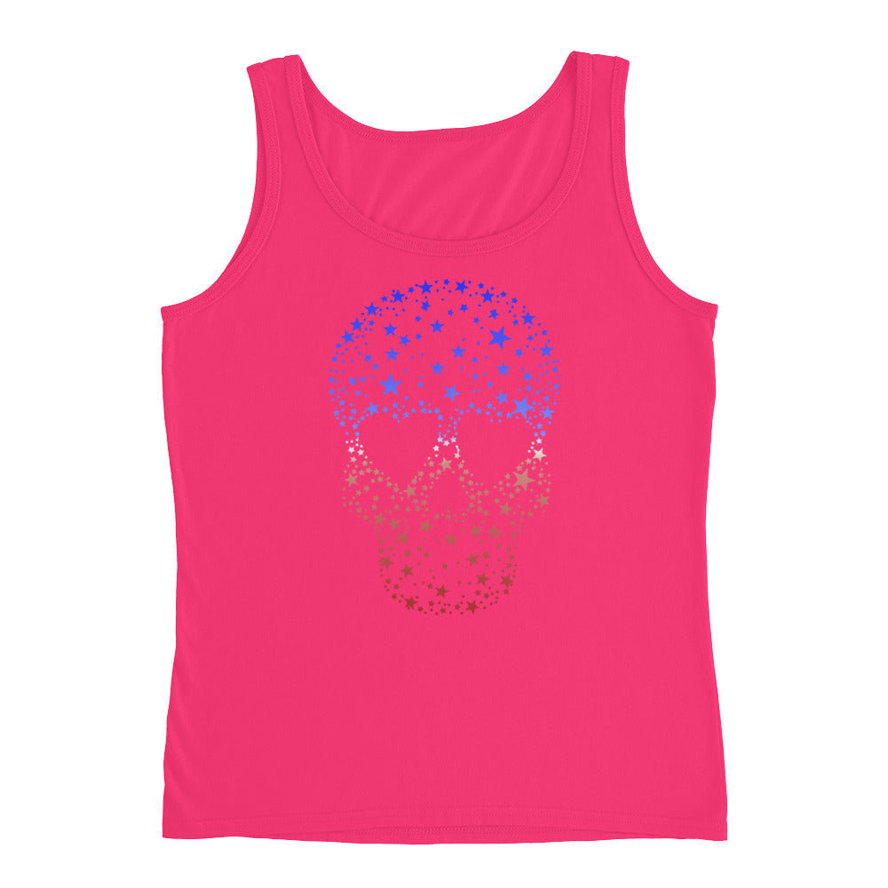 Red White Blue Stars Patriotic Shirt Skull Tank Top Men Women