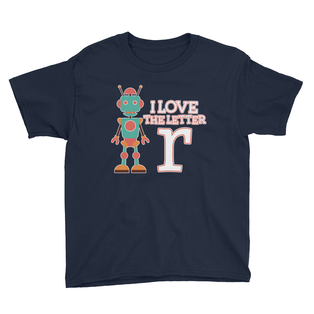 I Love the Letter R Cute Robot Tshirt for Pre-K Preschool First Grade or Kindergarten Kids Students