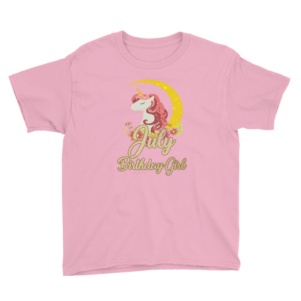 July Birthday Girl Unicorn Shirt - Great for Girls Birthday Gifts
