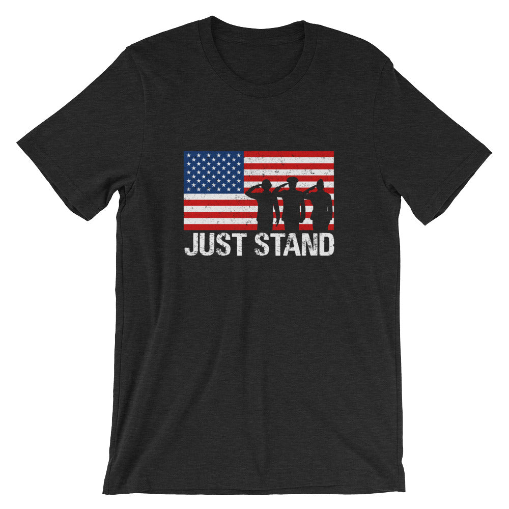 Just Stand Anti-Swoosh Don't Kneel USA Flag Patriotic American T-Shirt - Stand Up for the National Anthem