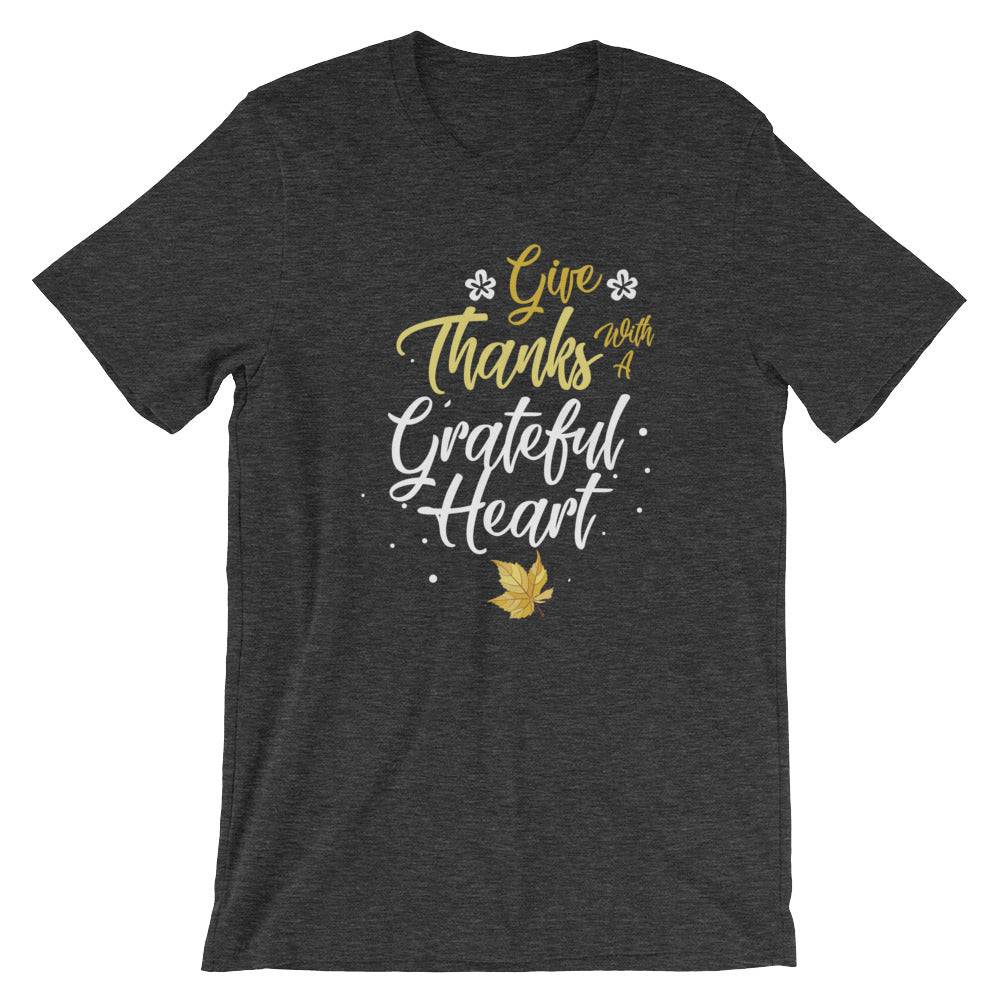 Give Thanks With A Grateful Heart Religious Inspirational T-Shirt Christian Bible Verse Religion Tees Shirts Gifts