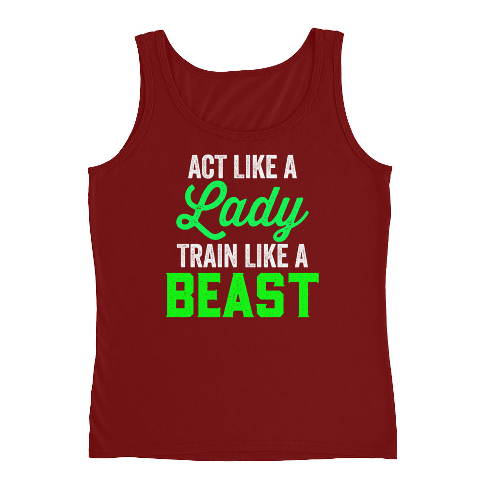 Act Like A Lady Funny Fitness Workout Tank Top for Women