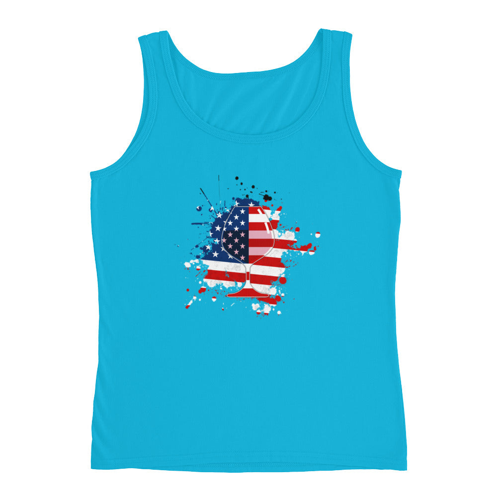 Red White Blue Flag Wine Drinking Patriotic Tank Top - Great 4th of July shirt or USA shirt for Wine Drinker Gifts