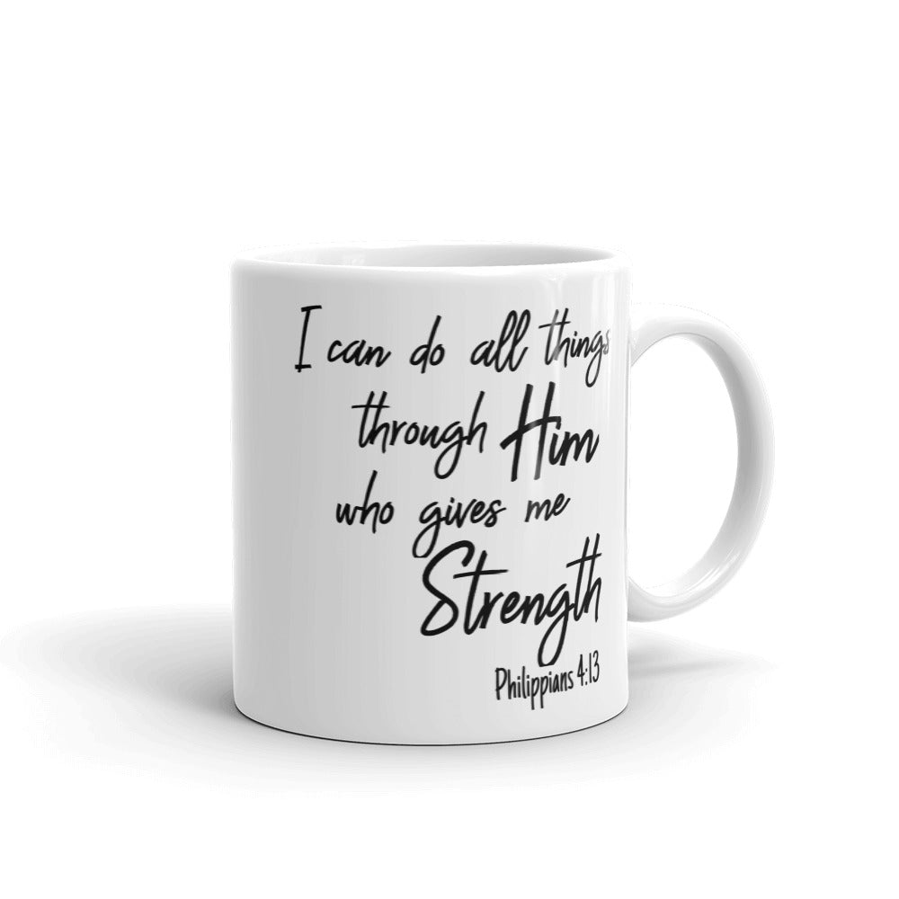 I Can Do All Things Through Him Bible Verse Praise Inspirational Coffee Mug Christian Faith Scripture Coffee Cup for Religious Gifts