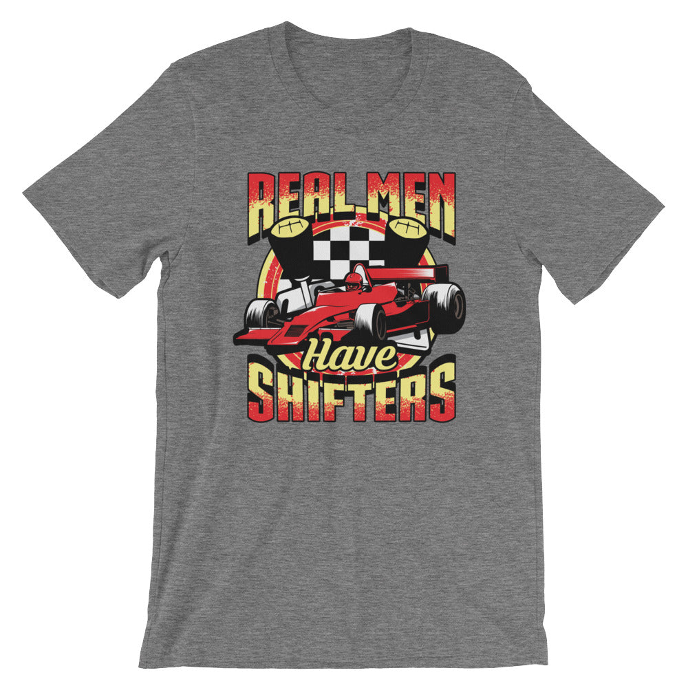 Real Men Have Shifters Funny Tshirt Graphic Tee for Drag Racing Car Racing Street Racing