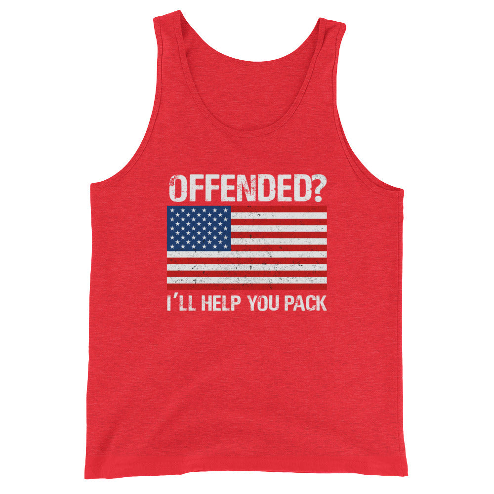 Offended? I'll Help You Pack Funny Patriotic USA Flag Tank Top - Great 4th of July Shirt
