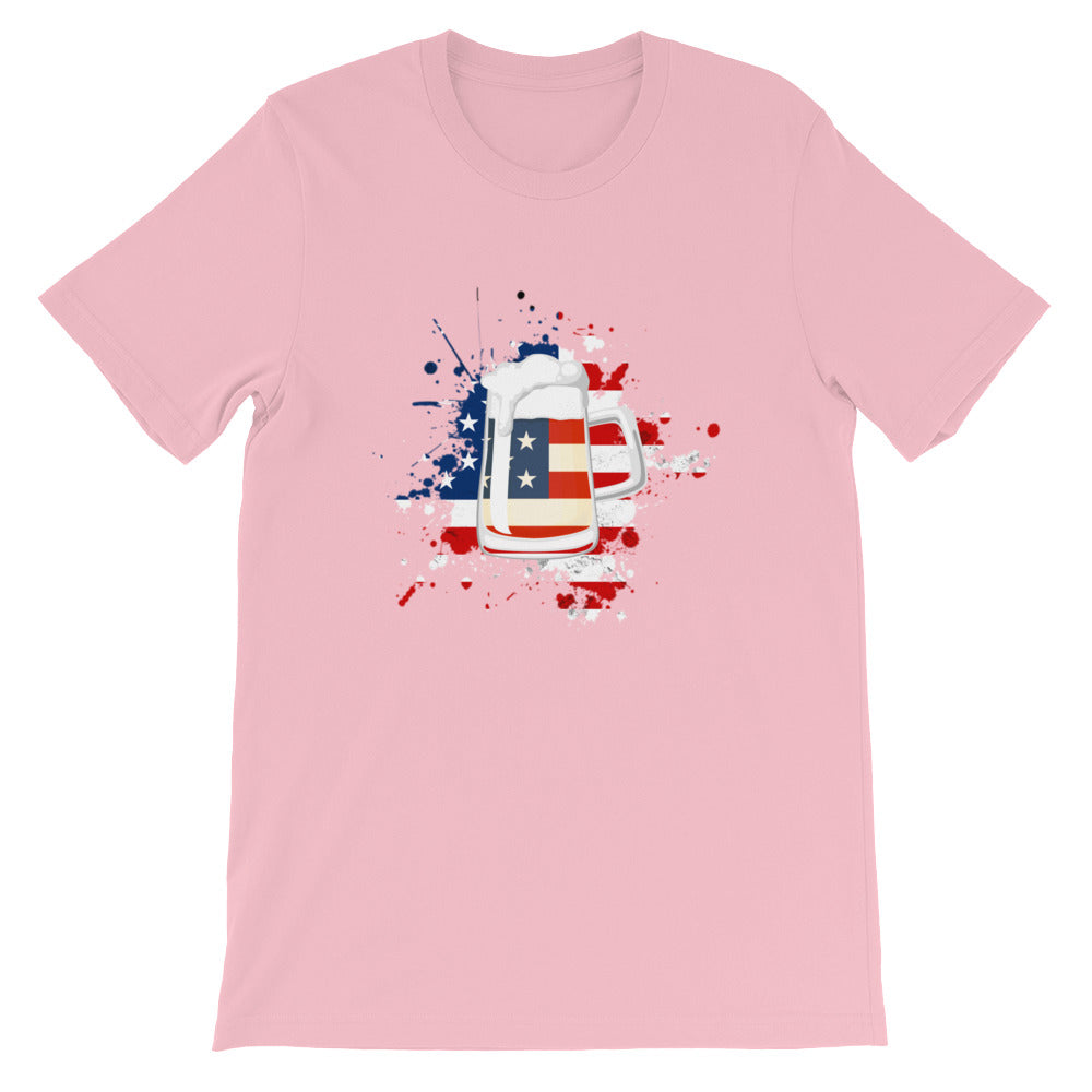 Red White Blue Flag Beer Drinking Patriotic Shirt for Men and Women
