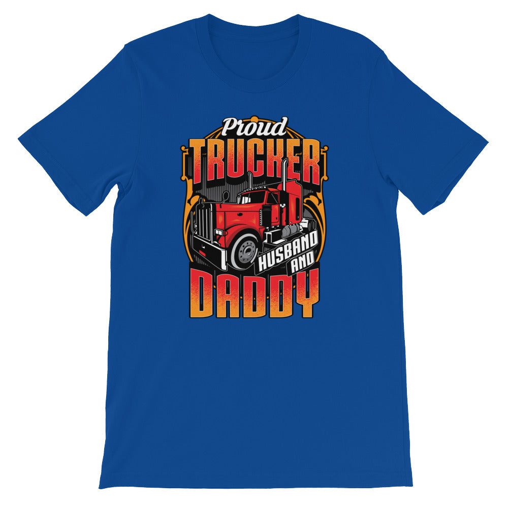 Proud Trucker Husband Daddy Tshirt for Truck Drivers - Great for Dad Gifts or Husband Gifts