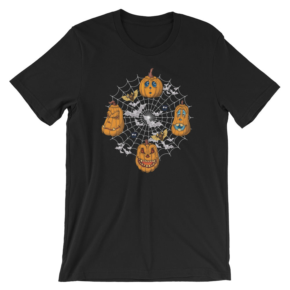 Funny Pumpkin Cartoon Faces Spider Web Bats Halloween T-shirt Cute Jack O Lantern Tees Shirts Gifts