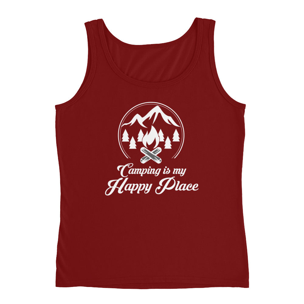 Camping is My Happy Place - Funny Camping Shirt Tank Top for Women - Makes great Camping Gifts