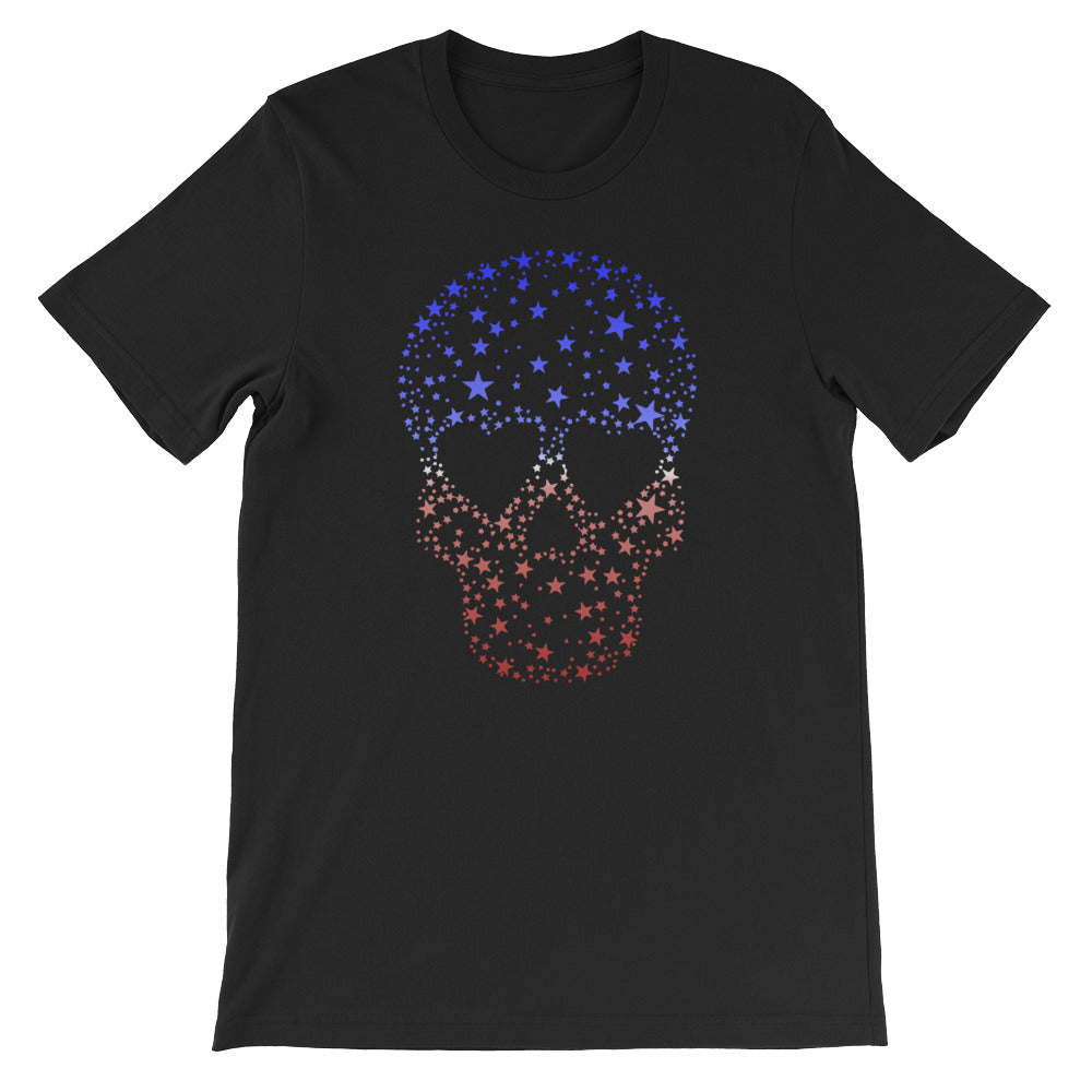 Red White Blue Stars Patriotic Shirt Skull Tshirt Men Women - Great for 4th of July
