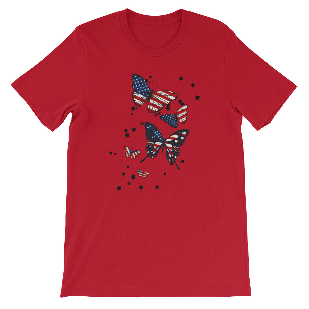 Patriotic Shirt with Red White Blue Butterflies