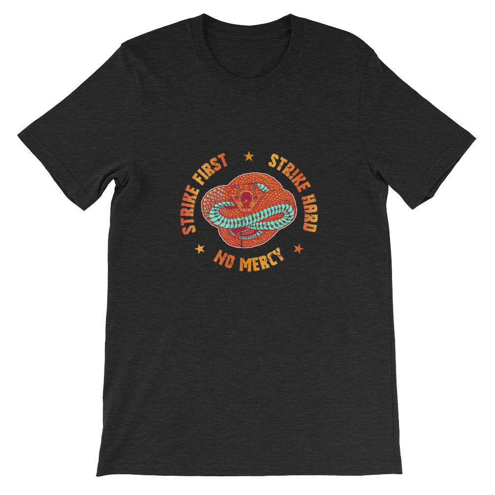 Strike First Strike Hard No Mercy Cobra Karate Tshirt