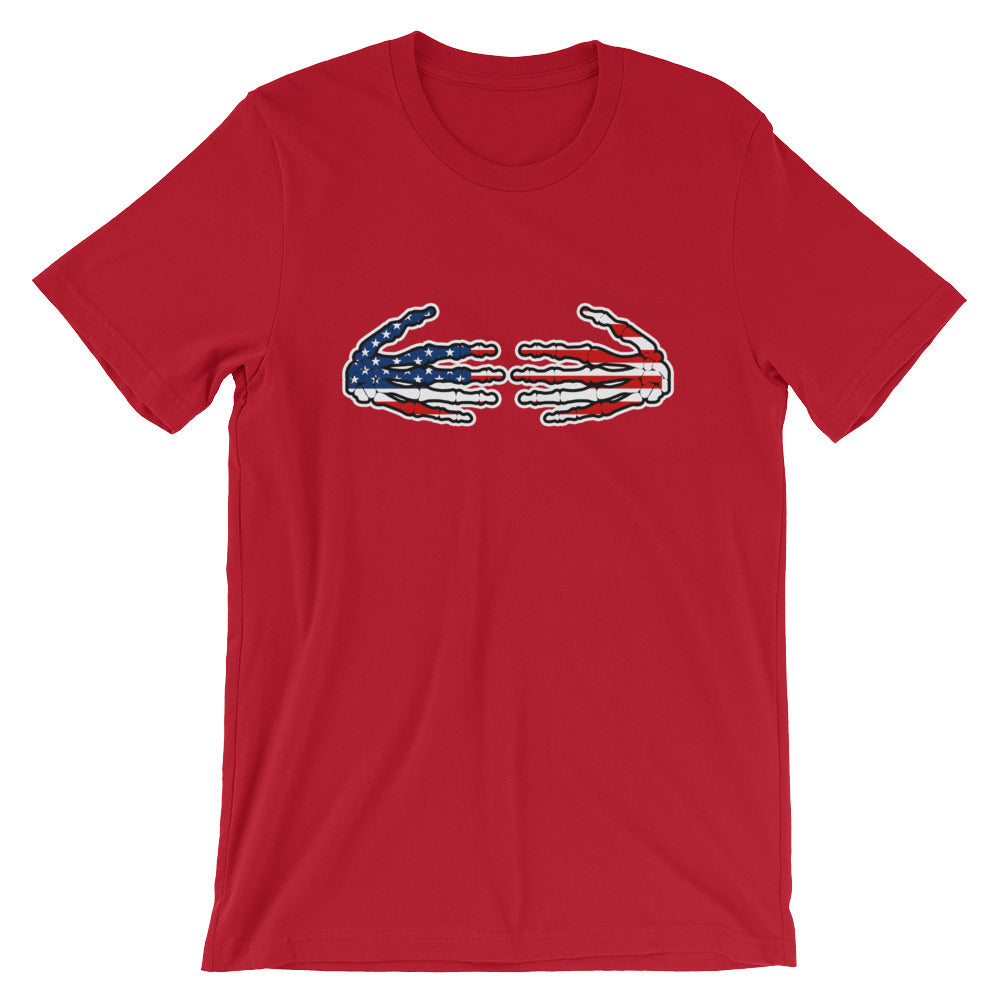 Patriotic Red White Blue American USA US Flag Skeleton Hands Shirt Great for Halloween TShirt
