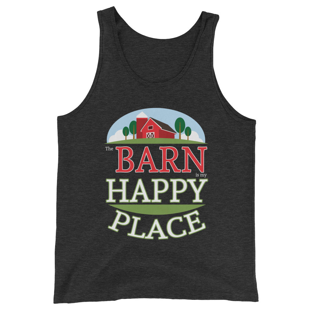 The Barn Is My Happy Place Horse Tank Top - Great for Horse Lover Gifts