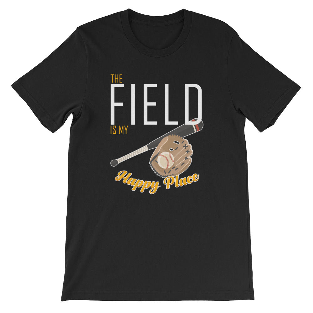 The Field is My Happy Place Softball Baseball Tshirt for Men and Women