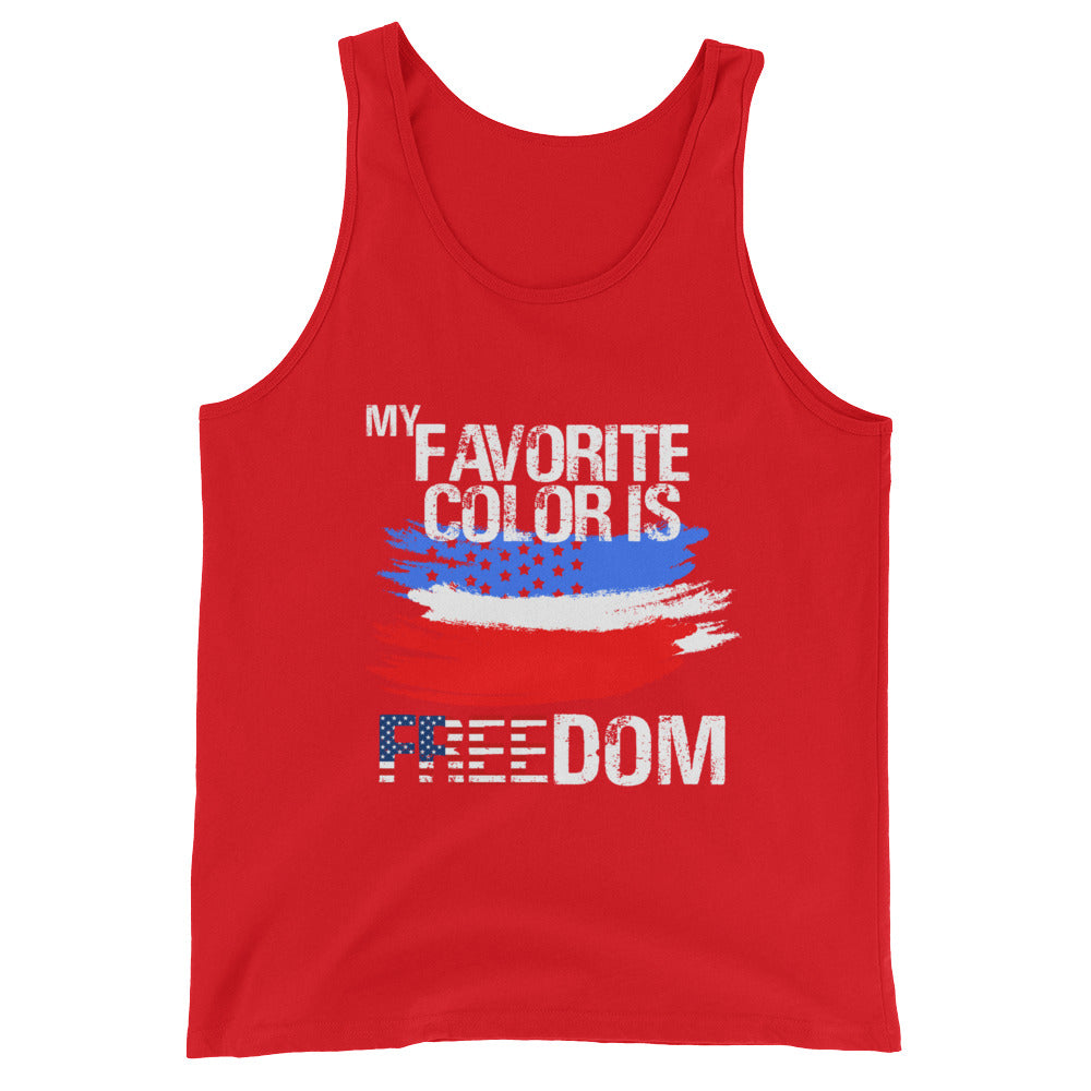 My Favorite Color is Freedom Patriotic Flag Tank Top for Men and Women - Great for 4th of July