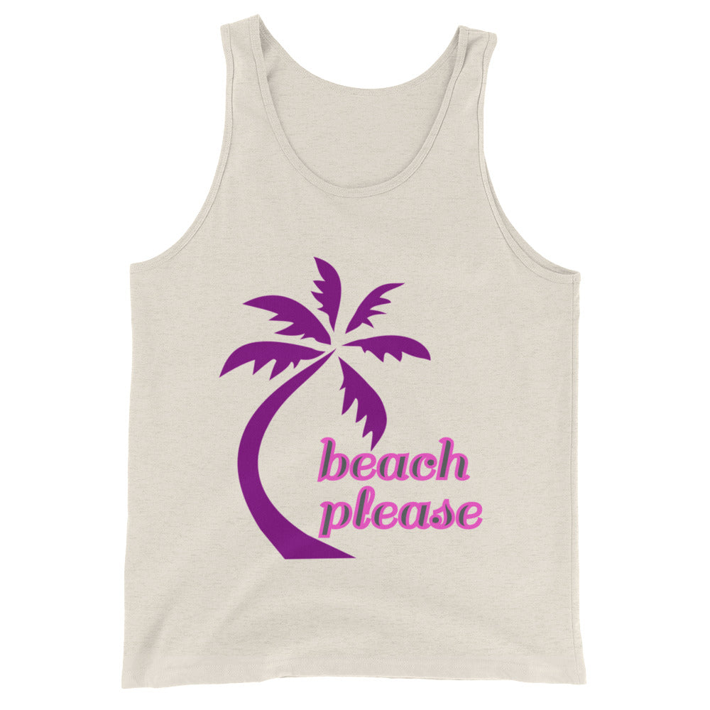 Beach Please Funny Beach Tank Top Graphic Tee Beachwear