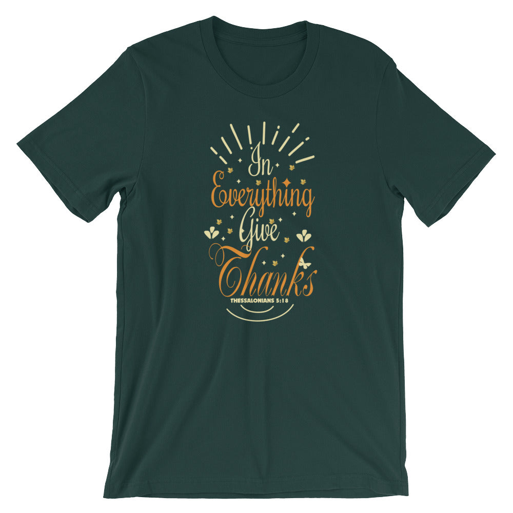 In Everything Give Thanks Religious Inspirational T-Shirt Christian Bible Verse Religion Tees Shirts Gifts