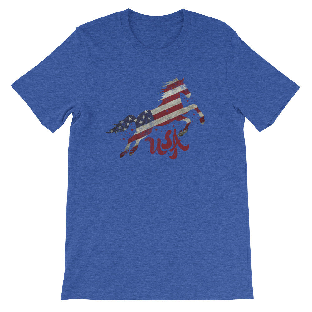 Red White Blue Flag Horse Tshirt USA Patriotic Shirt - Great for 4th of July
