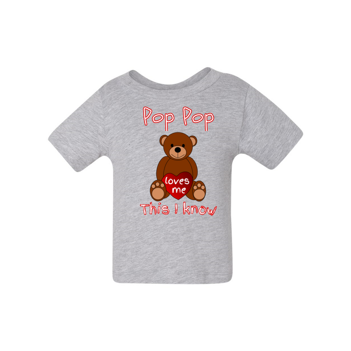 Pop Pop Loves Me Bear Grandfather Baby Tshirt