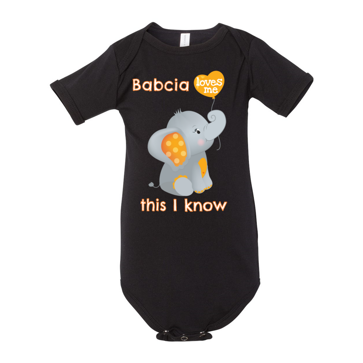 Babcia Loves Me Elephant Baby Bodysuit