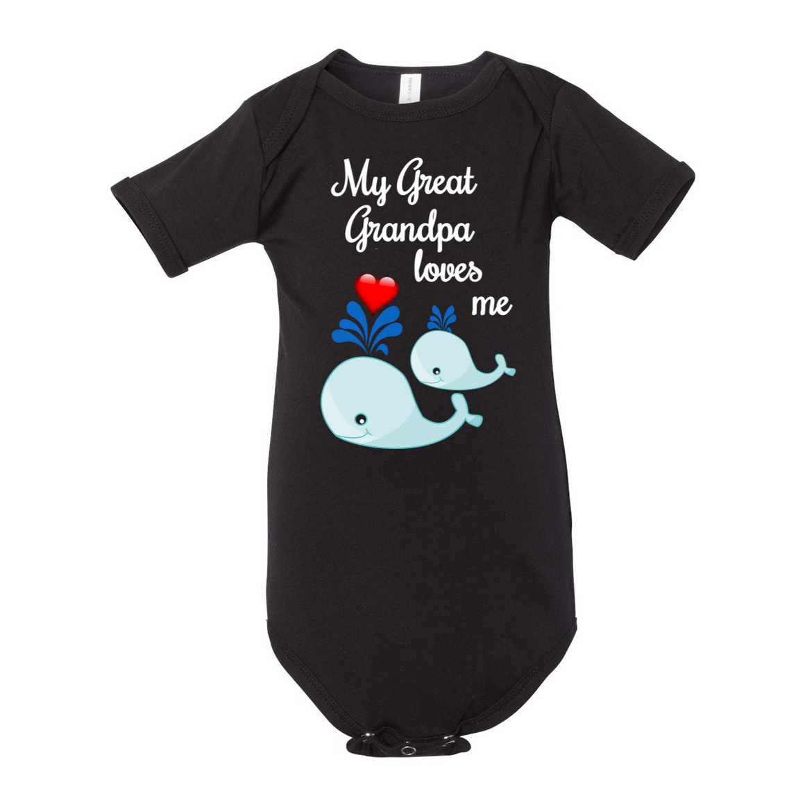 Great Grandpa Loves Me Whale Baby Bodysuit