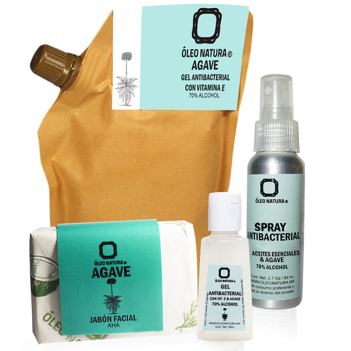 Limpieza con Agave kit: Gel Antibacterial 70% Alcohol, Spray antibacterial 70% Alcohol