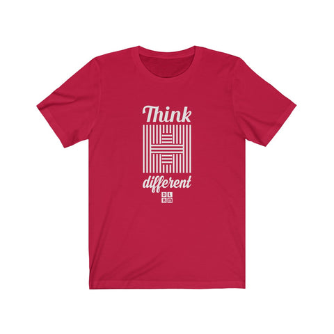 t-shirt chrétien rouge - think different #DLAM